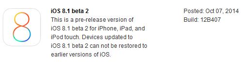 iOS 8.1 beta 2 Release Notes